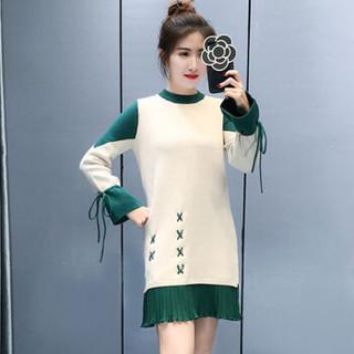 亚瑟魔衣针织连衣裙2018秋冬新款韩版中长款拼接圆领长袖打底毛衣裙子SH-18-111 绿色 均码