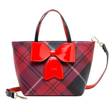 ELLE 她 女包单肩包复古学院风蝴蝶结装饰斜跨手提包E28F1382032RD红色