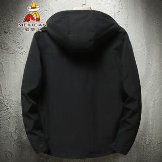 稻草人(MEXICAN)夹克男简约休闲短款男士外套户外连帽上衣夹克外套  J1902 黑色 L