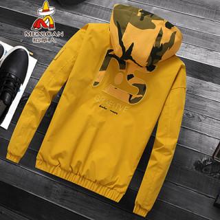 稻草人(MEXICAN)夹克男个性时尚迷彩拼色短款外套男士连帽夹克衫薄款上衣 J1909 黄色 3XL