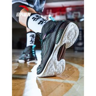 ANTA 安踏 11911603 男鞋 篮球鞋男高帮 UFO2代 2019男子专业篮球战靴 黑/藕粉/荧光水绿/深灰 8 (男41)