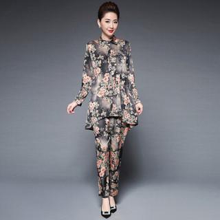 奥豚 AOTUN 时尚t恤妈妈装春装两件套装中老年人女装长袖40-50岁宽松上衣GLR-9817 蓝色 3XL