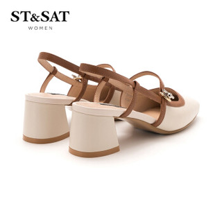 ST&SAT 星期六 羊皮革小香风粗跟时尚浅口单鞋 SS91114052 米白 34