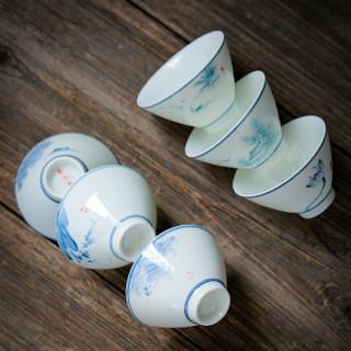 苏氏陶瓷 SUSHI CERAMICS 功夫茶杯手绘山水花草陶瓷斗笠杯个人杯薄胎主人杯(6个杯手绘图案不同)