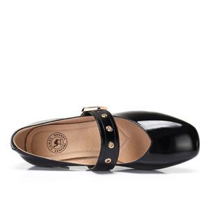 CAMEL 骆驼 女士 甜美质感一字金属搭扣方头单鞋 A91561610 黑色 39