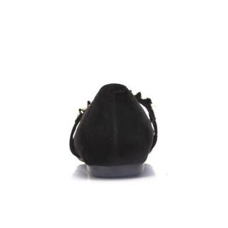 CAMEL 骆驼 女士 舒适魅力荷叶边珠饰尖头单鞋 A91045608 黑色 36