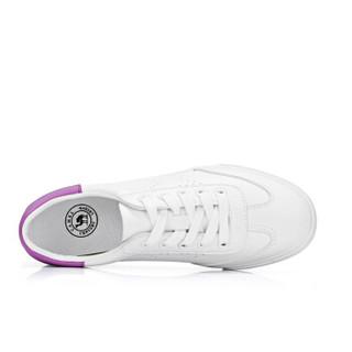 CAMEL 骆驼 女士 青春休闲星形冲孔系带小白鞋 A91278603 白色38