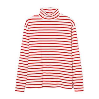 Gap 盖璞  莫代尔条纹长袖T恤 女士高领打底400634 正红色 155/76A(XXXS)