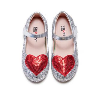 斯纳菲童鞋女童皮鞋新款公主鞋休闲皮鞋潮童韩版单鞋18850银色31
