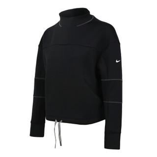 耐克NIKE 女子 卫衣套头衫 AS W NK DRY GYM LS CROP LEAD 运动服 AQ0190-010 黑色 XL码