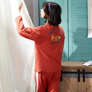 宝娜斯月子服春秋棉产后产妇哺乳孕妇睡衣夏季薄款怀孕期喂奶家居服 HYS1675粉 L