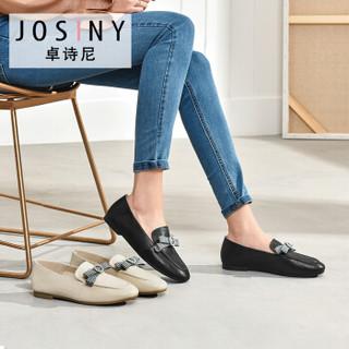 Josiny 卓诗尼 女低跟圆头深口中性韩版学院风蝴蝶结水钻乐福鞋 J111D913J681 黑色 36