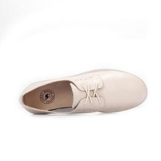 CAMEL 骆驼 女士 英伦风布洛克雕花圆头系带单鞋 A91893661 米白 36