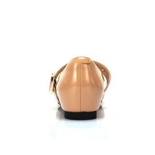 CAMEL 骆驼 女士 甜美质感一字金属搭扣方头单鞋 A91561610 杏色 40