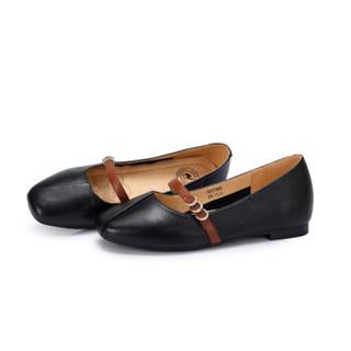 CAMEL 骆驼 女士 复古简约撞色一字饰带玛丽珍鞋 A91221629 黑色 37
