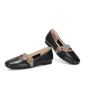 CAMEL 骆驼 休闲系列 女士 复古时尚细格纹宽饰带平底单鞋 A91515667 黑色 34