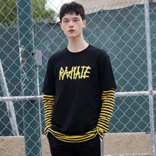 gxgjeans男装春季黑色圆领棉长袖T恤男拼接印花条纹韩版潮 黑色 M