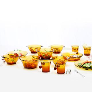 Duralex法国进口钢化玻璃碗碟盘餐具套装4人15件套 琥珀色