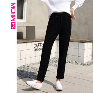 猫人(MiiOW)女裤2019春季新款休闲运动裤哈伦长裤时尚系带百搭女裤 M919712 黑色 XL