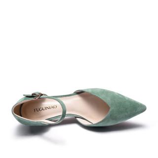 Fuguiniao 富贵鸟 性感女士单鞋细跟鱼嘴一字扣带中空时尚K99P050S 浅绿 36