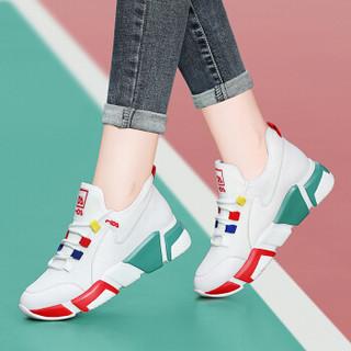 centenary 百年纪念 韩版时尚平底低帮系带拼色运动休闲鞋 1886 白红 40