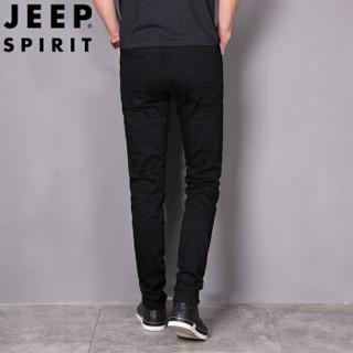 吉普(JEEP)2019春季新款牛仔裤男弹力修身韩版黑色休闲小脚厚款长裤子 2298JEEP
