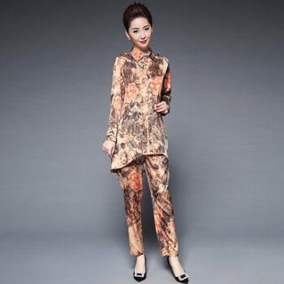 奥豚 AOTUN 时尚t恤妈妈装春装两件套装中老年人女装长袖40-50岁宽松上衣GLR-9817 紫色 XL