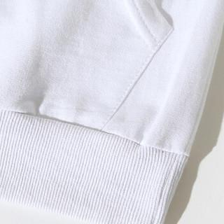 卡帝乐鳄鱼(CARTELO)卫衣男2019春季新款韩版潮流长袖T恤运动休闲连帽套头衫 白色 M