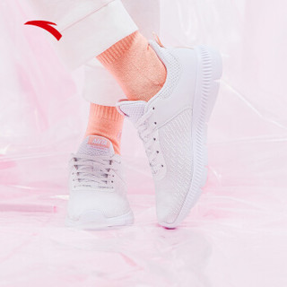 ANTA 安踏 跑鞋系列 92915584 2019新鞋女鞋运动鞋2019新款轻便慢跑易弯折休闲跑步鞋女 安踏白/婴儿粉 7.5(女38.5)