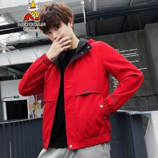 稻草人(MEXICAN)夹克男士连帽短款上衣外套休闲户外夹克衫 J1901 红色 L