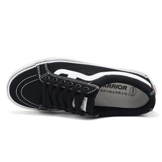 WARRIOR 回力  男士百搭系带低帮潮流休闲帆布鞋女 WXY-A201 黑白 37