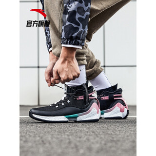 ANTA 安踏 篮球系列 11911620 篮球鞋男UFO2代-异形高帮战靴实战篮球鞋 黑/藕粉/安踏白 11(男45)