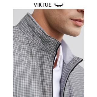 Virtue富绅休闲格纹立领男夹克2019春季新品商务简约拉链口袋男装外套J601B12 灰色格纹 48