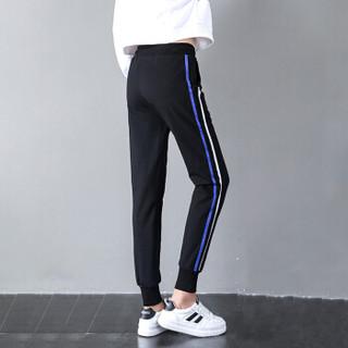 朗悦女装 休闲裤女2019春季新款韩版小脚运动裤学生宽松卫裤LWKX187203T 蓝色 XL