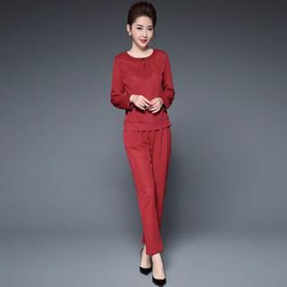 奥豚(AOTUN)2019春装新款中年妈妈装套装两件套长袖加松紧长裤GLR-9813 紫红色 3XL