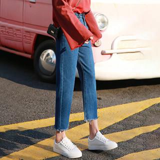 俞兆林 2019新款韩版高腰宽松牛仔裤女百搭毛边直筒阔腿裤 YWKX191217 深蓝 29