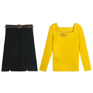 仙丫 2019春季新款女装新品连衣裙套装半身气质长袖上衣中长款A字时尚裙两件套 KKZ15133 黄衣黑裙 XL