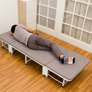 欧润哲 折叠床 加厚麻布四折折叠60cm单人办公室午睡床躺椅陪护床户外简易床 灰色
