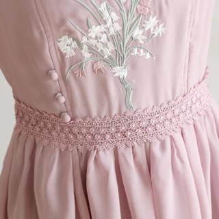 丝柏舍2019春装新款女装高腰显瘦圆领无袖时尚绣花中长款连衣裙 S81R0855LA6S 紫色 S