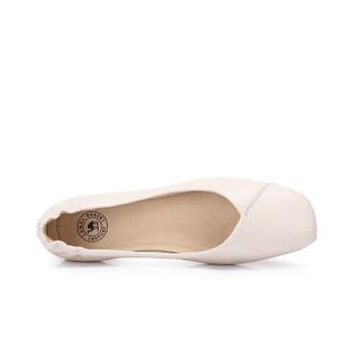 CAMEL 骆驼 女士 文艺舒适牛皮方头套脚单鞋 A915046183 米色 36