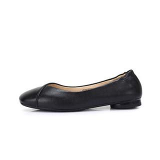 CAMEL 骆驼 女士 文艺舒适牛皮方头套脚单鞋 A915046183 黑色 37