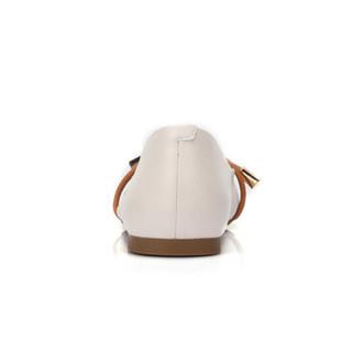 骆驼 A91893635 女士 气质淑女尖头套脚平跟单鞋 A91893635 米白/土黄 38