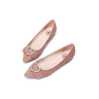 骆驼 A91045607 女士 气质甜美心形水钻尖头套脚单鞋 A91045607 粉色 36