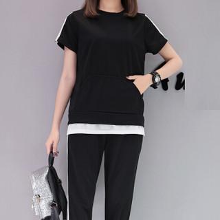 MAX WAY 女装 2019年春季韩版宽松短袖套装七分裤哈伦裤运动服两件套休闲裤 MWYH027 黑色 S