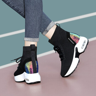 centenary 百年纪念 韩版时尚圆头平跟短靴前系带内增高防水台女鞋子 1825-1 黑色 36