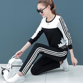 MAX WAY  女装 2019年春季新款韩版圆领印花休闲运动长袖条纹卫衣套装 MWYH051 米白+黑色 XL