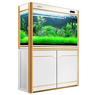 佳宝(JEBO)鱼缸水族箱中型大型玻璃底滤生态缸龙鱼缸观赏玻璃水族箱 黑金色 1.2米