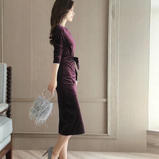米兰茵 MILANYIN 女装 2019年春季新款长袖中长款H型韩版圆领高腰套头连衣裙 ML19135 酒红色 M