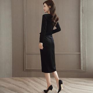 米兰茵 MILANYIN 女装 2019年春季新款长袖中长款H型韩版圆领高腰套头连衣裙 ML19135 黑色 M