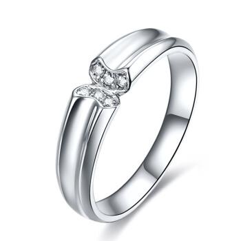 鸣钻国际 宠爱 钻石对戒 白18k金钻戒 结婚求婚戒指 情侣款